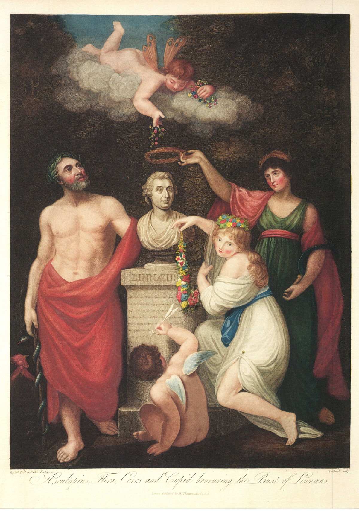 AESCULAPIUS, FLORA, CERES AND CUPID HONOURING THE BUST OF LINNAEUS